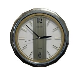 Telesonic Clear With Gold Rim 11.25 Inch Quartz Clock Working Used