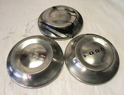 1950-51-52-53-54 Ford Vintage Factory Oem Stainless Poverty Dog Dish Hubcaps