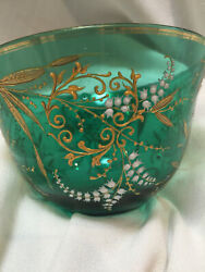 Moser Heavy Gold Enamel Lilly Of Valley Bohemian Glass Berry Bowl
