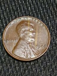 1948-p Lincoln Wheat Woodgrained Obverse One Cent Penny Wheatie Us 1c Coin Woody