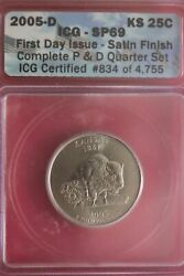 2005 D Sp 69 Kansas State Quarter First Day Icg Certified Authentic Slab Oce 505