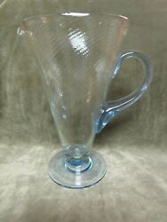 Rare 1930's Old Morgantown Glass Copen Blue / Clear Spiral Optic Tall Pitcher