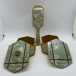 Celluloid Art Deco Dresser Set Powder Box Hair Receiver And Brush In Green Amber