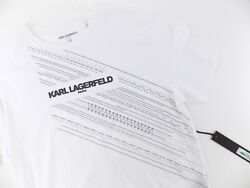 Karl Lagerfeld Paris Menand039s Crew Neck T-shirt With Printed Logo Size L White
