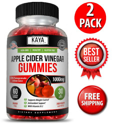 2 Pack Apple Cider Vinegar Gummies Fast Weight Loss Cleanse - Compare To Goli