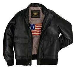 Mens Black Air Force Leather Bomber Flight Genuine Biker A2 Army Leather Jacket