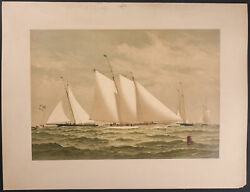 Cozzens - The Early Racers. 1, 1884 Yacht Original Folio Chromolithograph