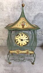 """Clock Metal And Wire Mesh Cage Poirot And Germain 17"""" Paris Green Hand Painted"""
