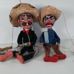 Lot Of 2 Mariachi Mexican Marionette Puppets Old Mexican Art Hehco En Mexico