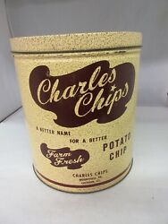 Vintage Advertising Charles Chips Round Potato Chip Tin Collectible M-391