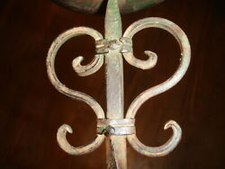 Old Antique 13 Cast Wrought Iron Single Candle Holder Ball And Twisted Nail Motif