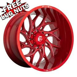 24 Inch 24x14 Fuel D742 Runner Candy Red Wheels Rims 8x170 -75