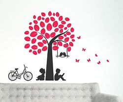 Swinging Birds And Reading Buddies Under Tree Decals Wall Stickers Home Decor