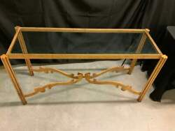 Vintage Hollywood Regency Gold Gilt Cast Iron Glass Top Console Coffee Table