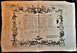 Freemasons Oath To The King - National Guard Certificate Engraved By Lanier 1791