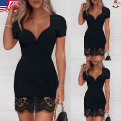 Women Lace V Neck Bodycon Dress Ladies Short Sleeve Evening Party Mini Dresses $14.69
