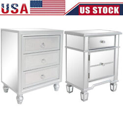 Mirrored 1 3 Drawer End Table Sofa Side Table Silver Glass Nightstand Furniture