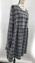 Wild Fabel Womens Gray Plaid Woven Babydoll Long Sleeve Dress Size Xl