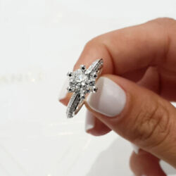 1.10 Ct Round Cut Real Diamond Wedding Ring 14k Solid White Gold Size 4 5 6 7 8