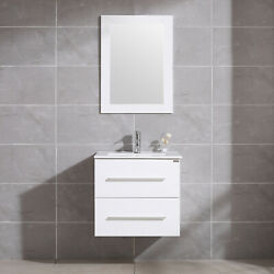 Bathroom Vanity Sink Set 24 Wall Mount Floating Cabinet + Mirror And Faucet White