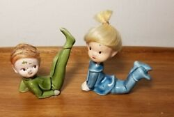 Vintage Pair Of Ceramic Green And Blue With Hair Pixie Elves Japan