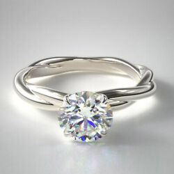 1.00 Ct Round Cut Real Diamond Engagement Ring 14k Solid White Gold Size 6 7 8 9