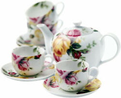 Royal Albert Country Rose 9 Piece Tea Set Teapot 4 Cups And 4 Saucers New In Box