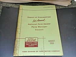 👀 Ford 1956 🌟1st.annual National Report Of Proceedings Parts Manger Council