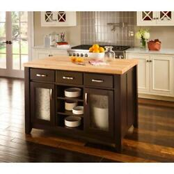 Large Real Wood Kitchen Island Black With Dovetail Drawers Glass Doors Legs