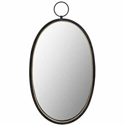 Black Mirrors For Wall Decor Brushed Metal Frame Oval Bedroom Bathroom Living