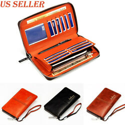Leather Clutch Wallet for Men Wristlet Zipper Passport Coin Phone Card Holder $14.58