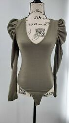 Wild Fable Womens Green Puff Long Sleeve Comfortable Bodysuit Size Small