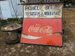 Double Sided Coca-cola Large Metal Sign 5and039x5and039 Original Pioneer House Store