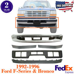 Front Bumper + Valance + Molding Centre Left And Right For 1992-1996 Ford F-series
