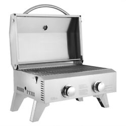 Zokop Tabletop Stainless Steel 2-burners Gas Grill Portable 2000 Btu Bbq Grid Us