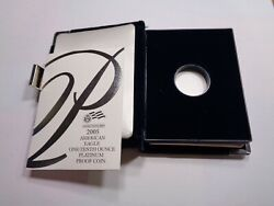 2005 American Eagle Platinum Proof 1/10 Oz Case Only Papers No Coin No Box B