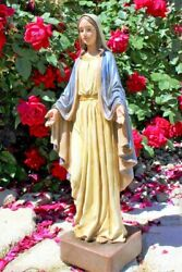 Our Lady Of Grace Statue Indoor Outdoor Mary Garden Decor Resin 22 Inch