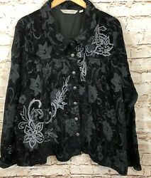Soft Avenue Black Jacquard Jacket Womens 26/28 Floral Beaded Button Tapestry E5