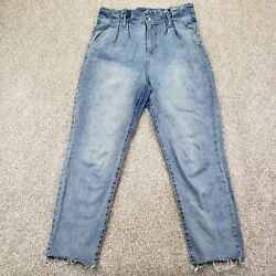 Wild Fable Womens Jeans Blue Light Wash Stretch Pleated High Rise Tapered Mom 8