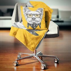 Designart #x27;Funny Terrier Dog with Glasses#x27; Animal Throw Yellow 59 in. x 71 in.