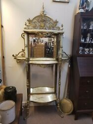 1880and039s Antique Victorian Ornate Brass And Onyx Etagere With Beveled Mirrored Back