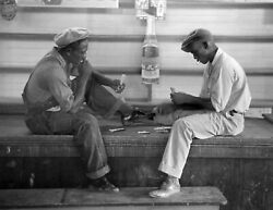 1938 African American Men Playing Cards, Louisiana Old Photo 8.5 X 11 Reprint
