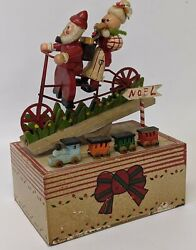 Vintage Wooden Musical Mechanical Santa And Mrs. Claus On A Bicycle Christmas