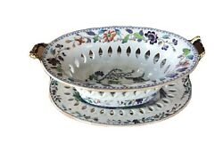 Antique Davenport Chinoiserie Rare Fruit Bowl Stone China With Platter. 19 C