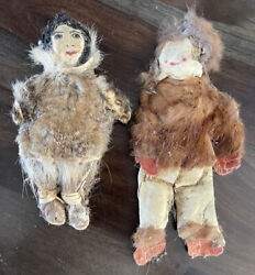 Antique Handcrafted Leather Alaskan Native Doll Set Of 2