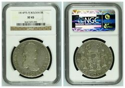 Ngc Bolivia 1814 8 Reales Pts Pj Ferdinand Vii Mint Silver Coin Xf45