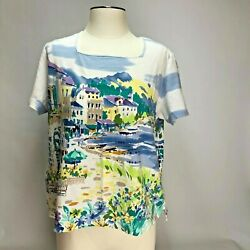Samantha Grey Colorful Scenery Square Neck Top Size M $6.99