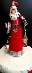Turning Santa Clause Christmas Metal Tin Doll Stands On Mechanical Wind Up Music