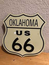 Vintage State Of Oklahoma Route 66 Porcelain Road Highway Sign Usa Made