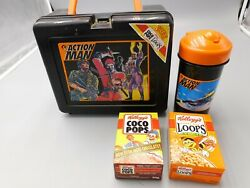Vintage New Old Stock Action Man Plastic Lunchbox With Thermos And Cereal Boxes
